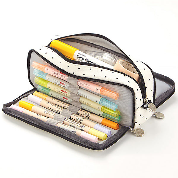 Triple Zipper Canvas Pencil Case, Dot