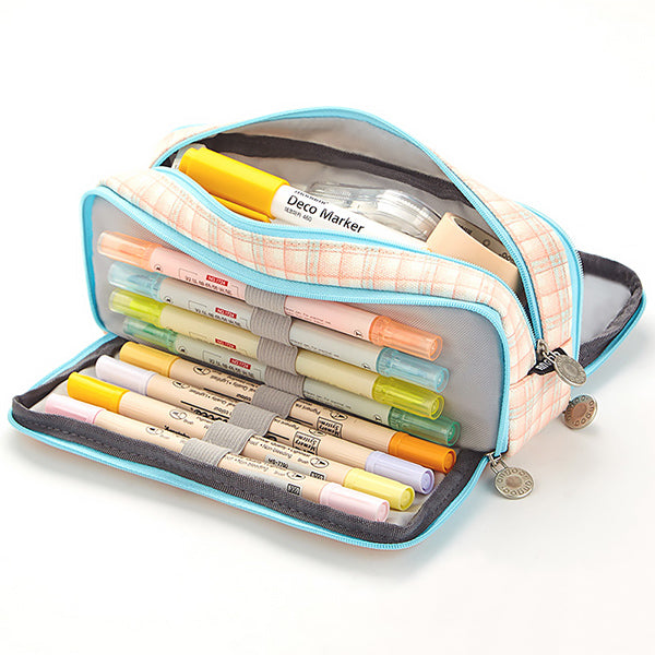 Triple Zipper Canvas Pencil Case, Grid D