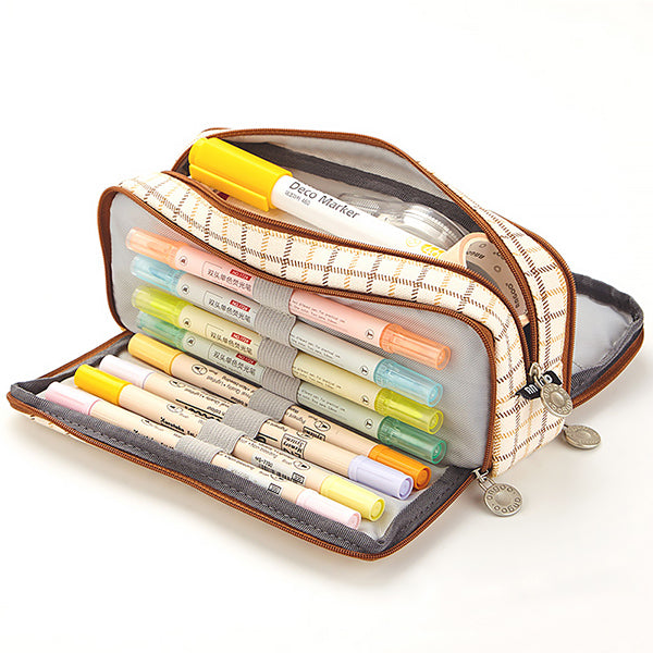 Triple Zipper Canvas Pencil Case, Grid E