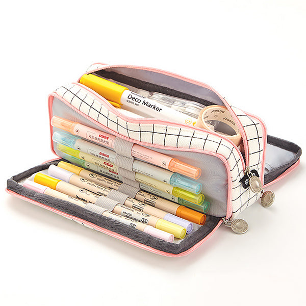 Triple Zipper Canvas Pencil Case, Grid A