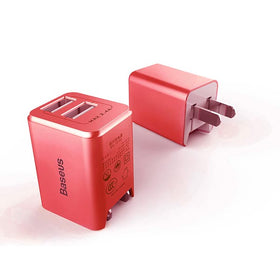 USB Power Adapter 2 Ports 2.4A Max (USA, Canada Type A Plug),Red