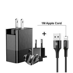 USB Power Adapter 3 Ports 3.4A Max (USA, UK and Europe Type A/G/F Plug),USB Power Adapter with 1M Apple Lightning Power Cord
