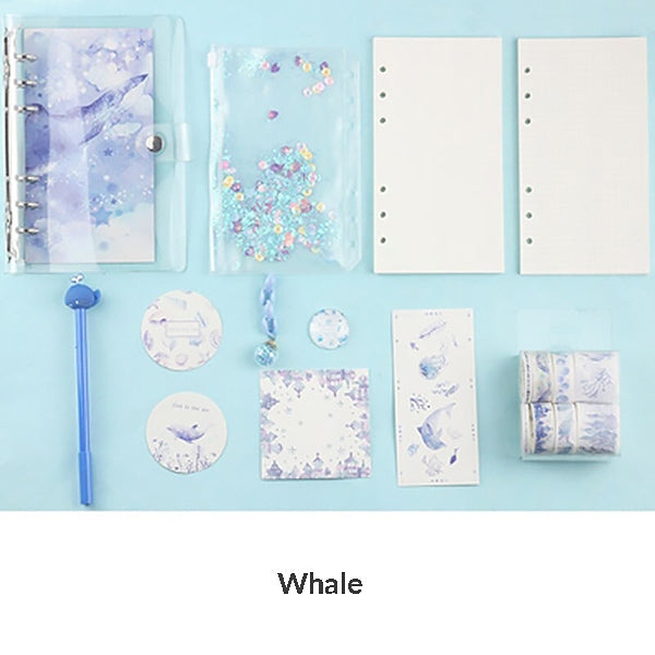 Unicorn Loose Leaf Notebook Binder Bundle, Whale / A5 - Large