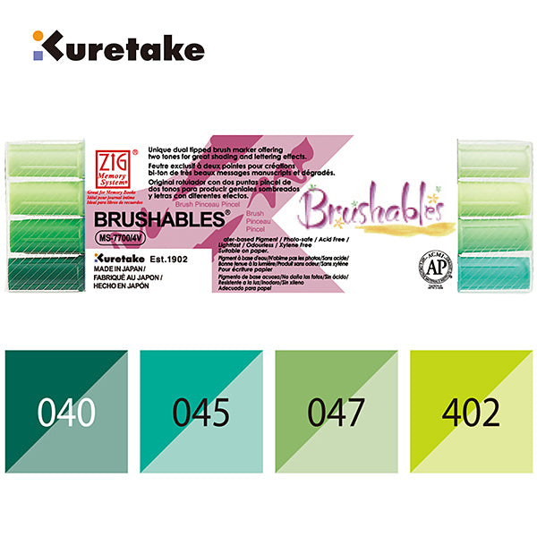 Zig Memory System Brushables Dual-tip Markers 4//pkg-green