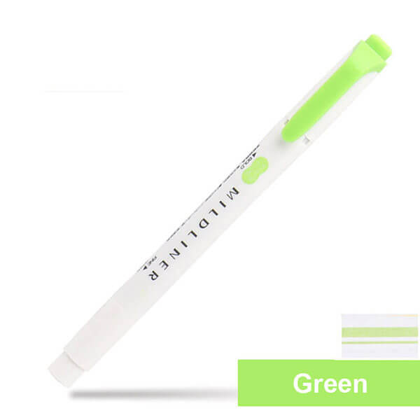 Zebra Mildliner Double-Sided Highlighters Fine Bold 25 Colors, Green - MG