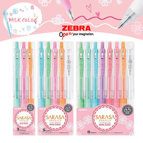 Zebra Sarasa Milk Color Clip Retractable Gel Pen Set