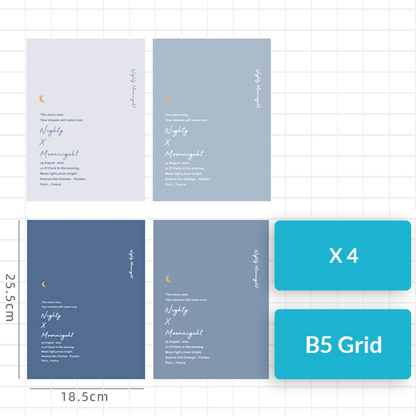 Nighty x Moonnigeht A5/B5 Notebook (Grid/Line) Pack, Grid / B5 / 4