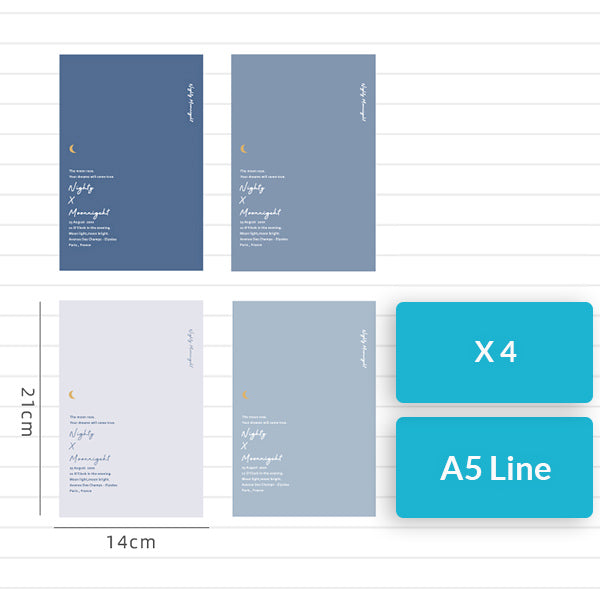 Nighty x Moonnigeht A5/B5 Notebook (Grid/Line) Pack, Line / A5 / 4