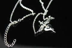 Sterling Silver Plated Heart & Dagger Necklace