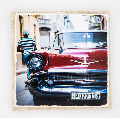 """Red Car"" Cuba Inspired Coaster"