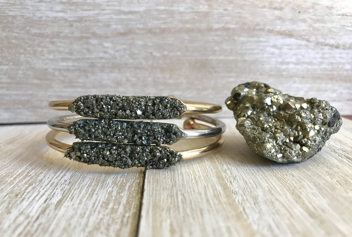 Pyrite Stacking Bangle - GaiaBoheme