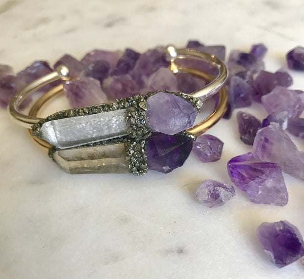 . Amethyst & Clear Quartz- February Birthstone - GaiaBoheme