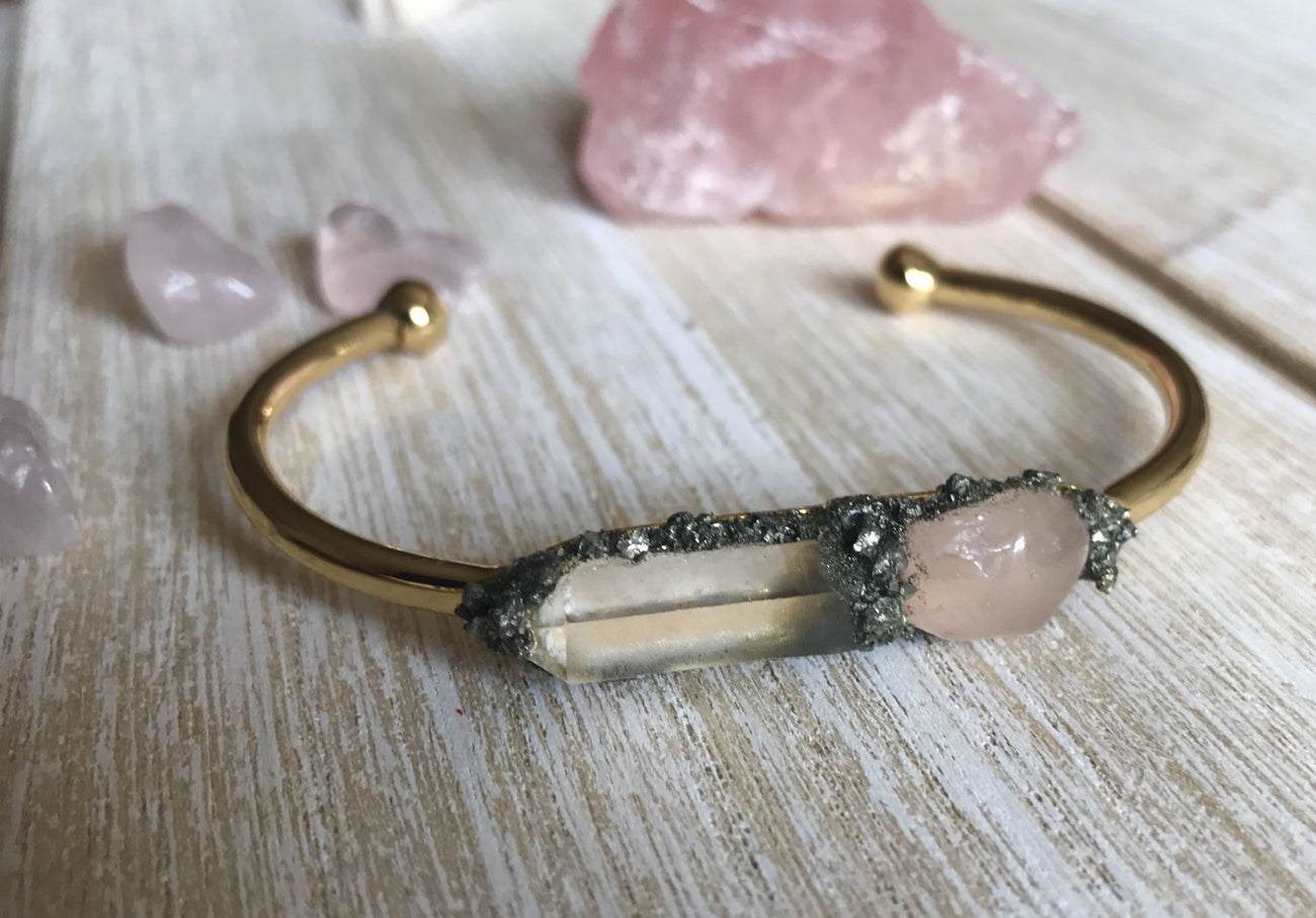 Rose Quartz & Clear Quartz - GaiaBoheme