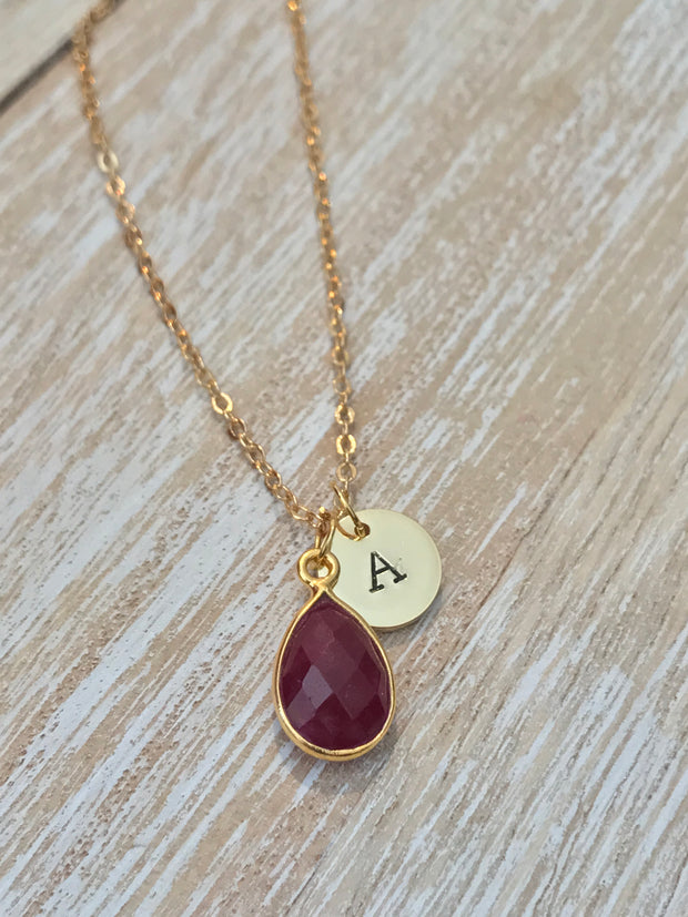 July Birthstone- Ruby Necklace - GaiaBoheme
