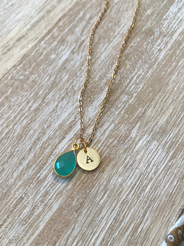 March Birthstone- aqua Chalcedony necklace - GaiaBoheme