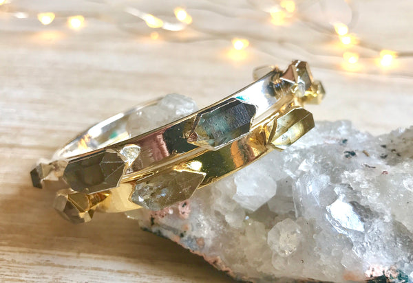 Herkimer diamond bracelet, christmas gifts for wife, birthstone, beauty gift, raw crystal, birthstone jewelry, boho jewelry, bridesmaid-gift - GaiaBoheme