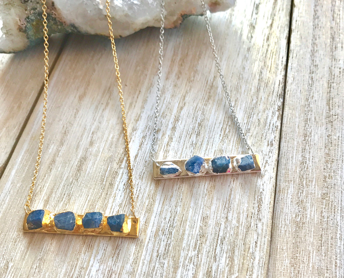 Wife-gift, bar necklace, September birthstone jewelry, blue sapphire necklace, raw sapphire jewelry, christmas-gift-for-women - GaiaBoheme