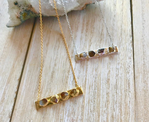 November birthstone, necklace for mom, citrine necklace, gold bar necklace, Christmas gifts for sister, stocking stuffer for mom, teen girl - GaiaBoheme