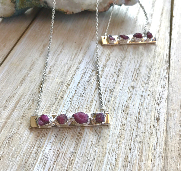 Ruby necklace, July birthstone, birthstone bar necklace, stocking stuffer for girlfriend, ruby jewelry, travel gift, christmas gifts for mom - GaiaBoheme