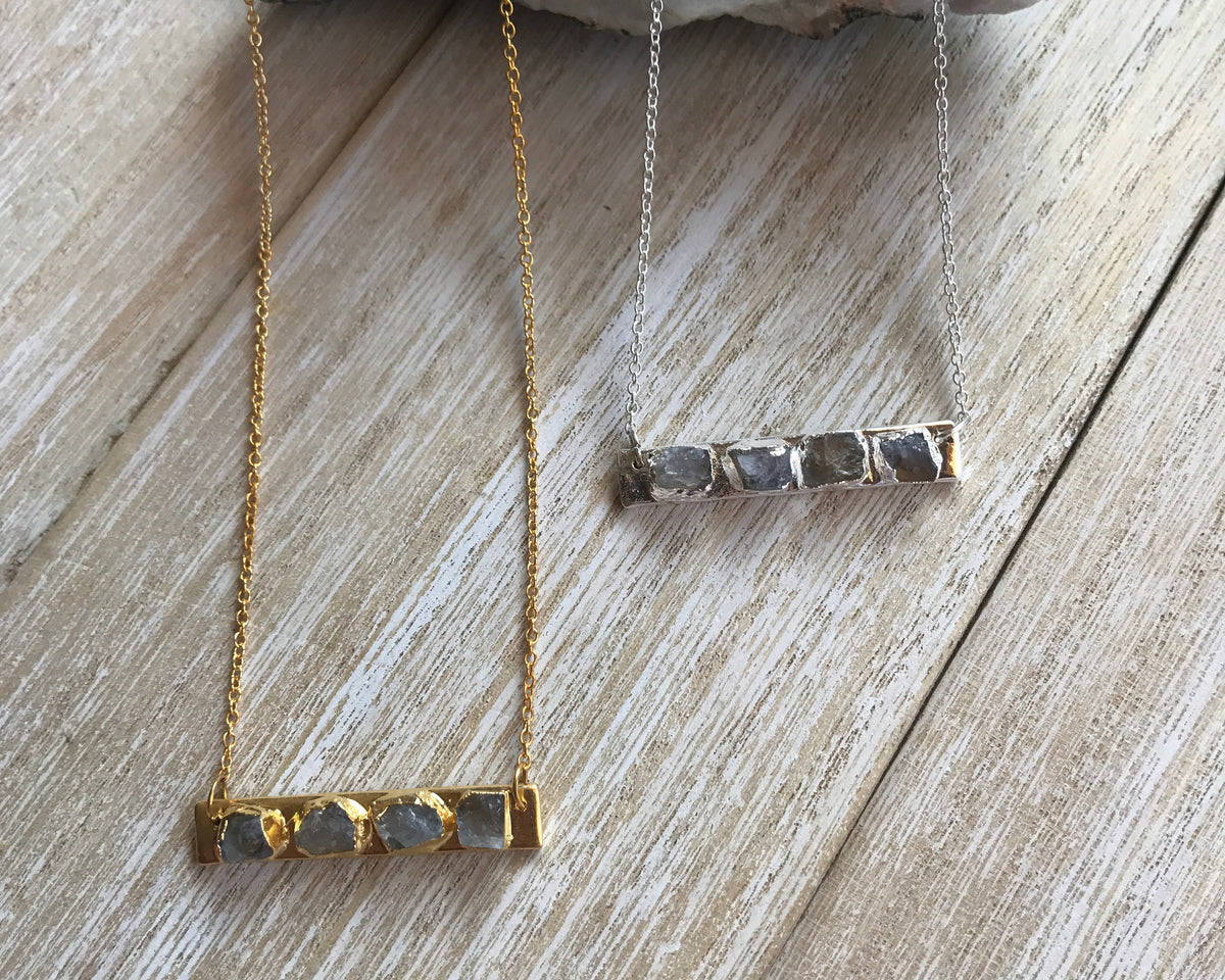 moonstone necklace, christmas gifts for daughter, June birthstone necklace, birthstone bar, Gemini necklace, moonstone jewelry, bar necklace - GaiaBoheme