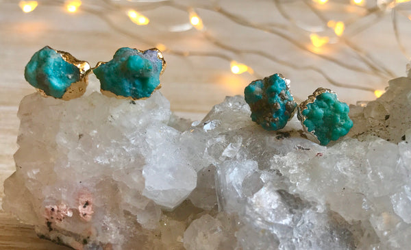 Gift jewelry, Raw Turquoise stud Earrings, December birthstone, raw turquoise studs, raw crystal, Christmas gift ideas for mom - GaiaBoheme