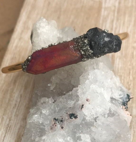Base Chakra- Black Tourmaline & Ruby Aura Quartz - GaiaBoheme