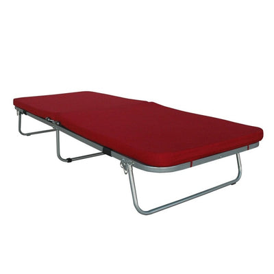 Box Furniture Belfield Folding Bed with Mattress (Maroon)