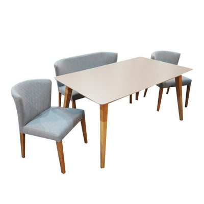 Novena Aeo 4 Piece Dining Set with Luxury Bench & Chairs (Light Oak, Light Blue)