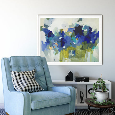 Art print Blue Muse by artist Pamela Munger in white frame