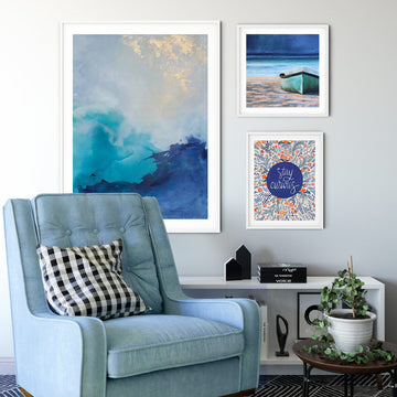 Art print Beached by artist Cory McBee in white frame