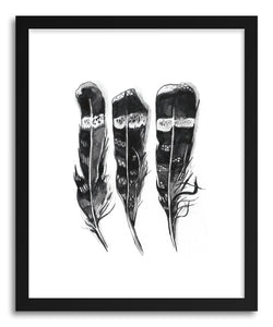 hide - Art print Hawk Feathers by artist Amanda Paulson in natural wood frame