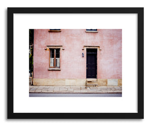 hide - Art print Pink House by artist Anna Rasmussen in natural wood frame
