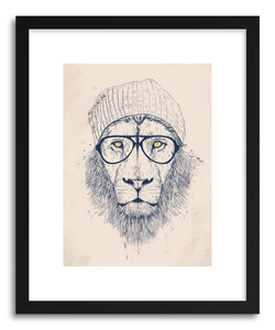 hide - Art print Cool Lion by artist Balazs Solti in white frame