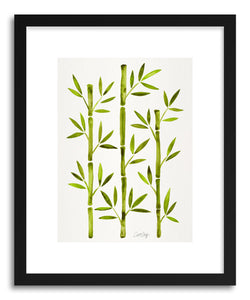 hide - Art print Green Bamboo by artist Cat Coquillette in white frame
