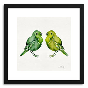 hide - Art print Green Birds by artist Cat Coquillette in white frame
