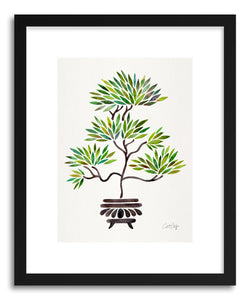 hide - Art print Green Bonsai by artist Cat Coquillette in white frame