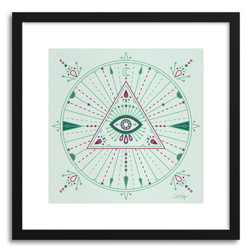 Art print Green Evil Eye Mandala by artist Cat Coquillette