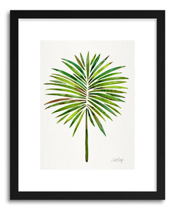 hide - Art print Green Fan Palm by artist Cat Coquillette in white frame