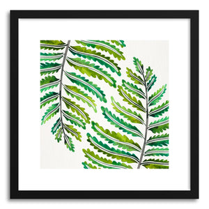 hide - Art print Green Fern Leaf Pattern by artist Cat Coquillette in white frame
