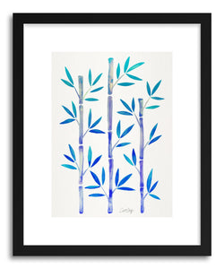 hide - Art print Indigo Bamboo by artist Cat Coquillette in white frame