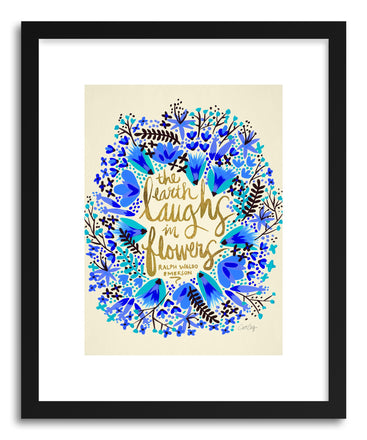 Art print Laughs Flowers Blue Gold by artist Cat Coquillette