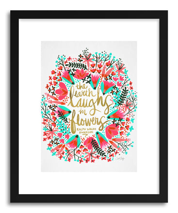 Art print Laughs Flowers Pink by artist Cat Coquillette