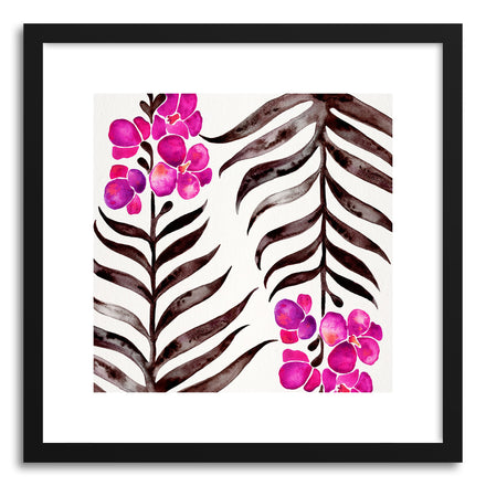 Art print Magenta Black Orchid Bloom Pattern by artist Cat Coquillette