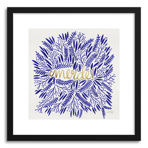 hide - Art print Merde navy Gold by artist Cat Coquillette in natural wood frame