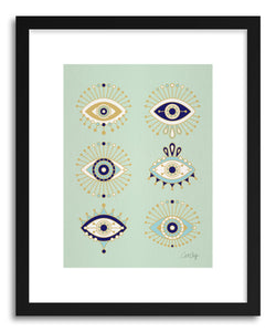 Art print Mint Evil Eyes by artist Cat Coquillette