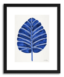 hide - Art print Navy Alocasia by artist Cat Coquillette in white frame