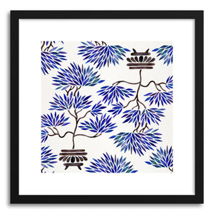 hide - Art print Navy Bonsai Pattern by artist Cat Coquillette in white frame