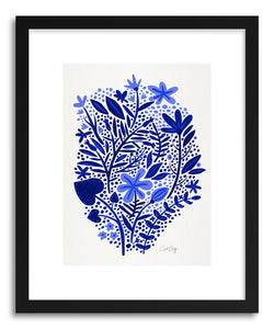 hide - Art print Navy Garden by artist Cat Coquillette in natural wood frame