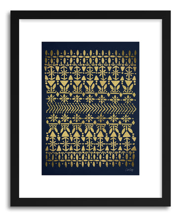Art print Norwegian Gold on Navy by artist Cat Coquillette