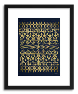 hide - Art print Norwegian Gold on Navy by artist Cat Coquillette in natural wood frame
